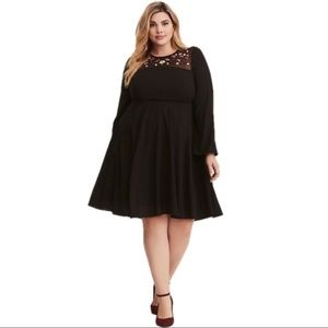 Torrid Black Embroidered Mesh georgette Dress